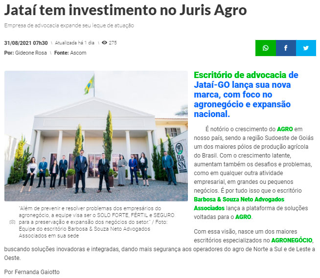 JATAI NEWS-ADVOGADOS DO AGRO - BARBOSA SOUZA NETO-JATAI-GOIÁS